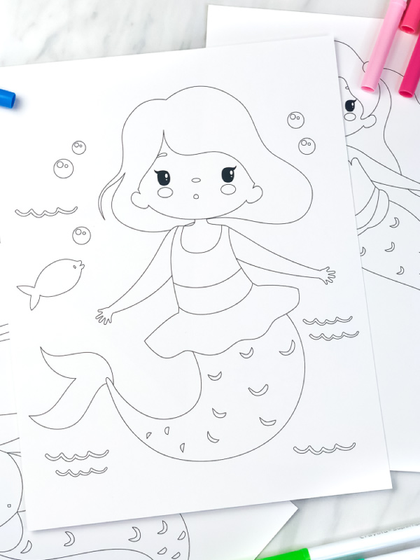 closeup of little girl mermaid coloring page