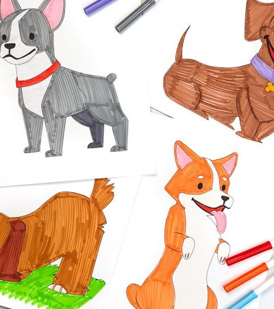 collage of puppy dog coloring pages with markers