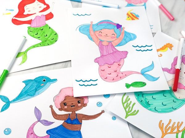 4 mermaid coloring pages