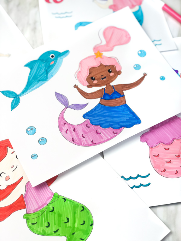 mermaid and dolphin coloring page