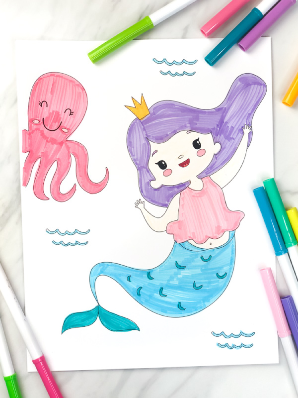 mermaid and octopus coloring page