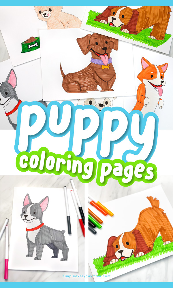 collage of puppy coloring pages