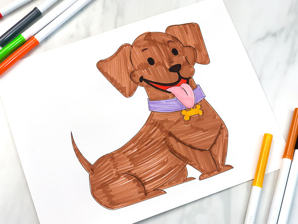 daschund coloring page with markers
