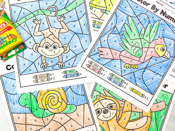 easy kids color by number worksheets
