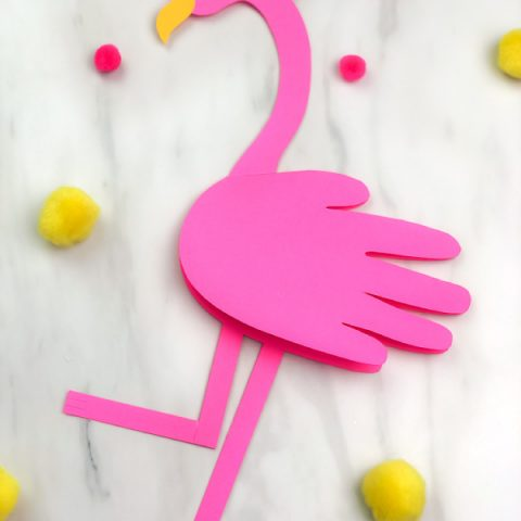 handprint flamingo card craft