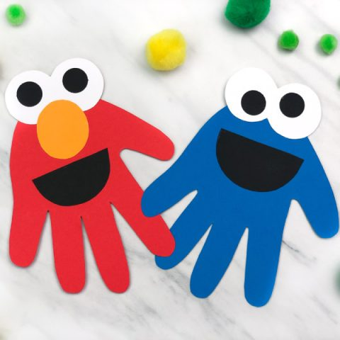 Handprint Cookie Monster & Elmo Craft