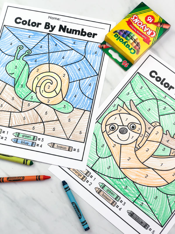 pre k color by number worksheets with crayola c
