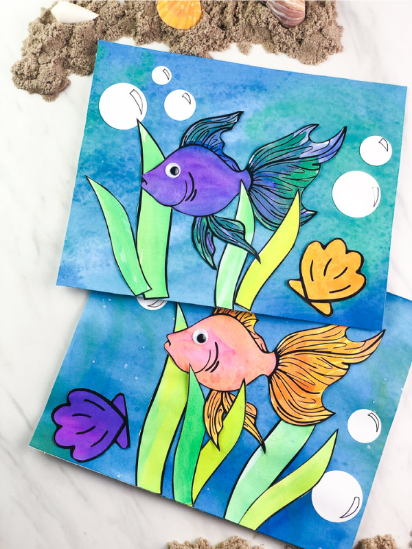 watercolor fish painting for kids