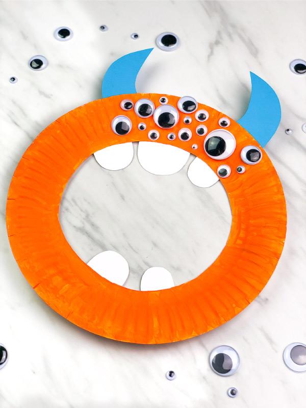 orange paper plate monster craft