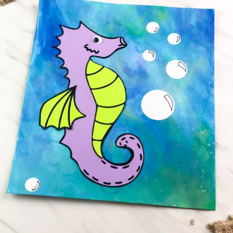 Easy Mixed Media Seahorse Craft For Kids