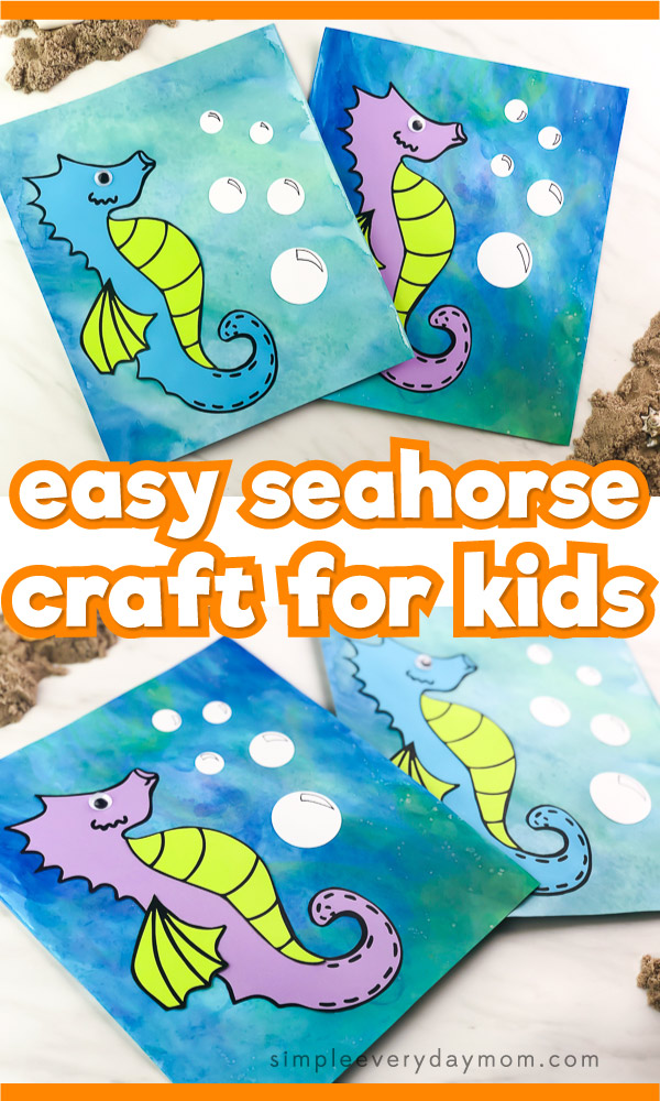 watercolor seahorse craft
