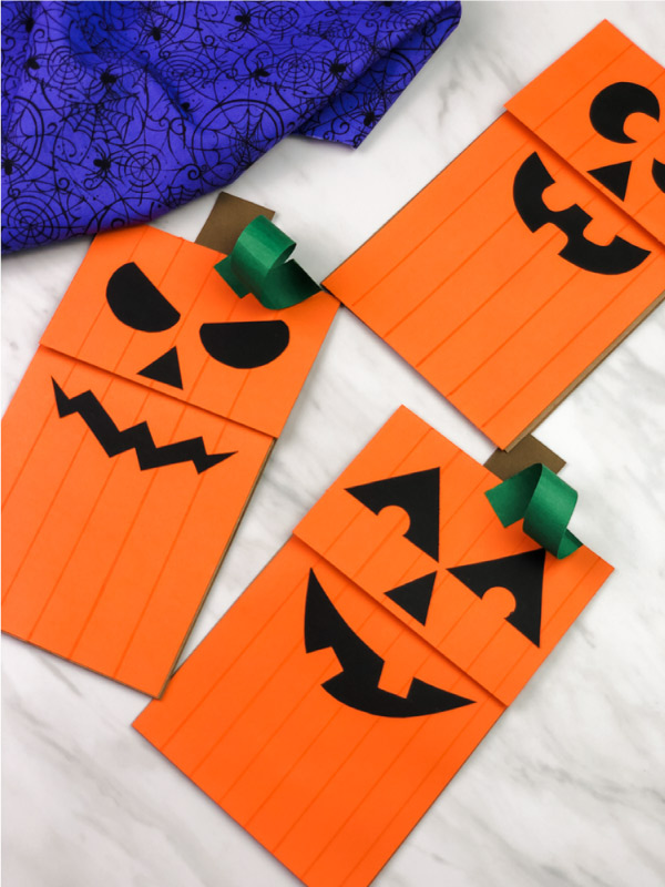 3 jack o\'lantern paper bag puppet crafts