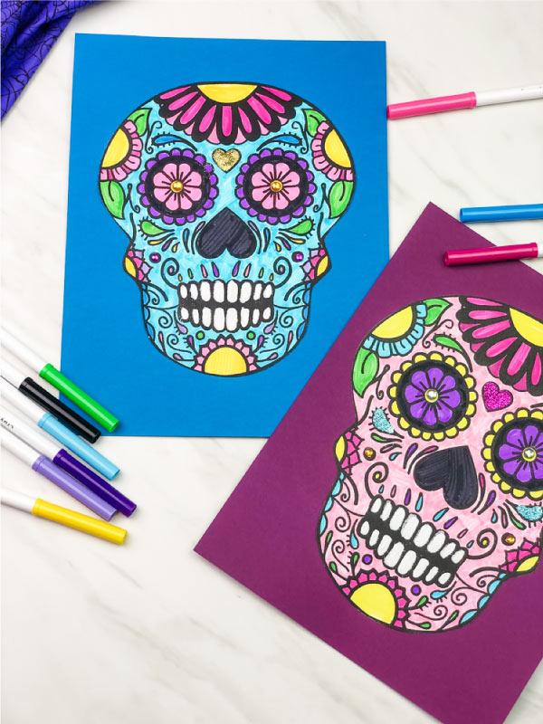 2 sugar skull art projects