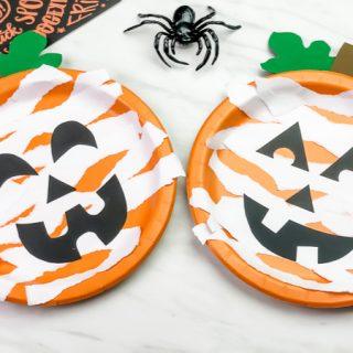 Mummy Paper Plate Pumpkin Craft