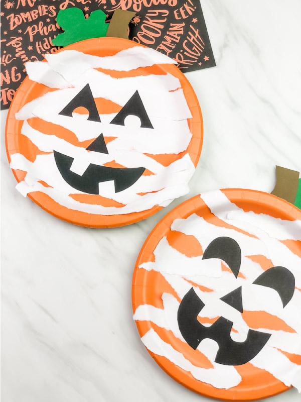 2 paper plate mummy pumpkin crafts