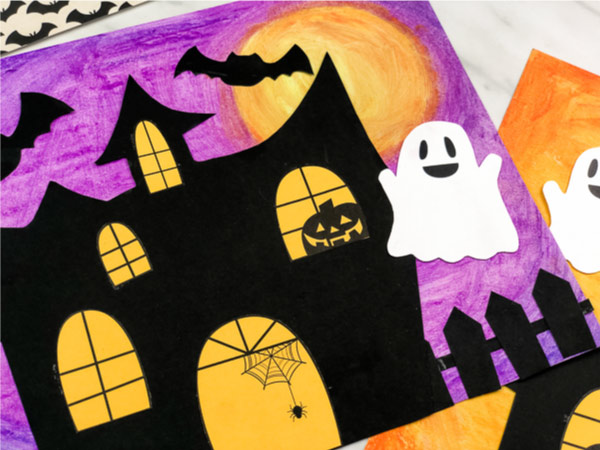haunted house craft with bat and ghost