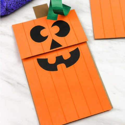 Paper Bag Pumpkin Puppet For Kids