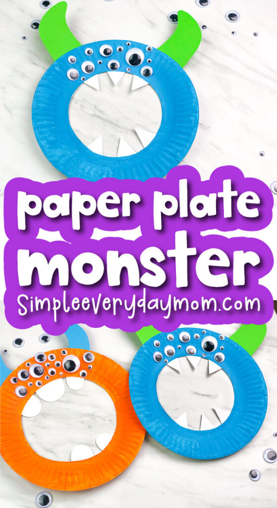 paper plate monster image collage with the words paper plate monster