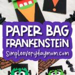paper bag frankenstein craft image collage with the words paper bag frankenstein