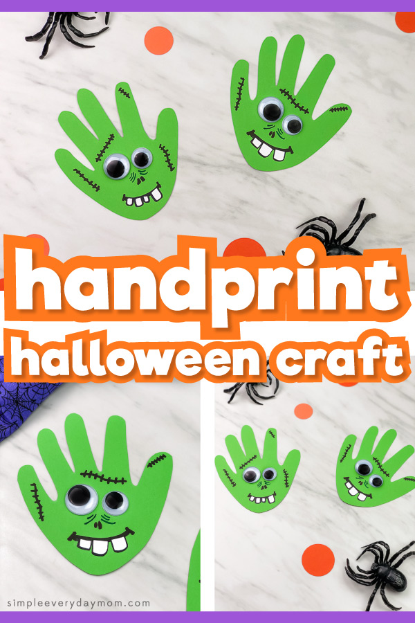 handprint zombie halloween craft for kids