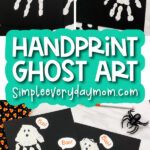 handprint ghost art for kids image collage with the words handprint ghost art