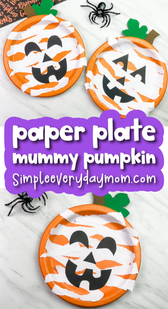 paper plate pumpkin craft image collage with the words paper plate mummy pumpkin