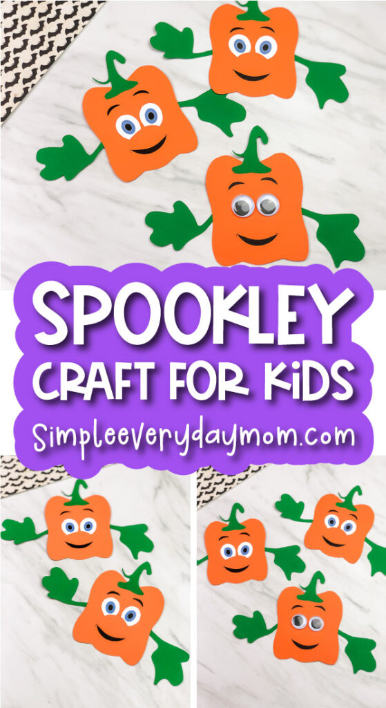 Spookley the square pumpkin craft image collage with the words spookley craft for kids