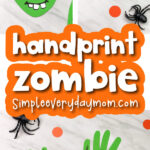 handprint zombie craft image collage with the words handprint zombie