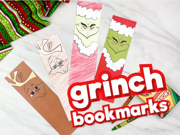 printable Grinch bookmarks with the words grinch bookmarks in the corner