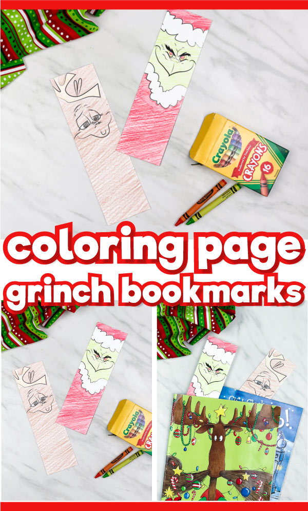 printable Grinch bookmarks image collage with the words coloring page grinch bookmarks in the middle