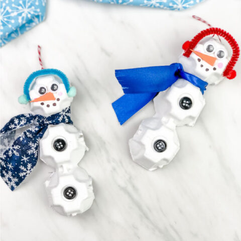 Egg Carton Snowman Ornament Craft