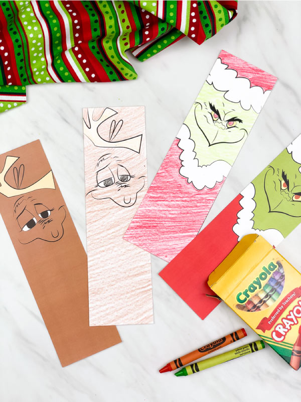 coloring page grinch bookmarks