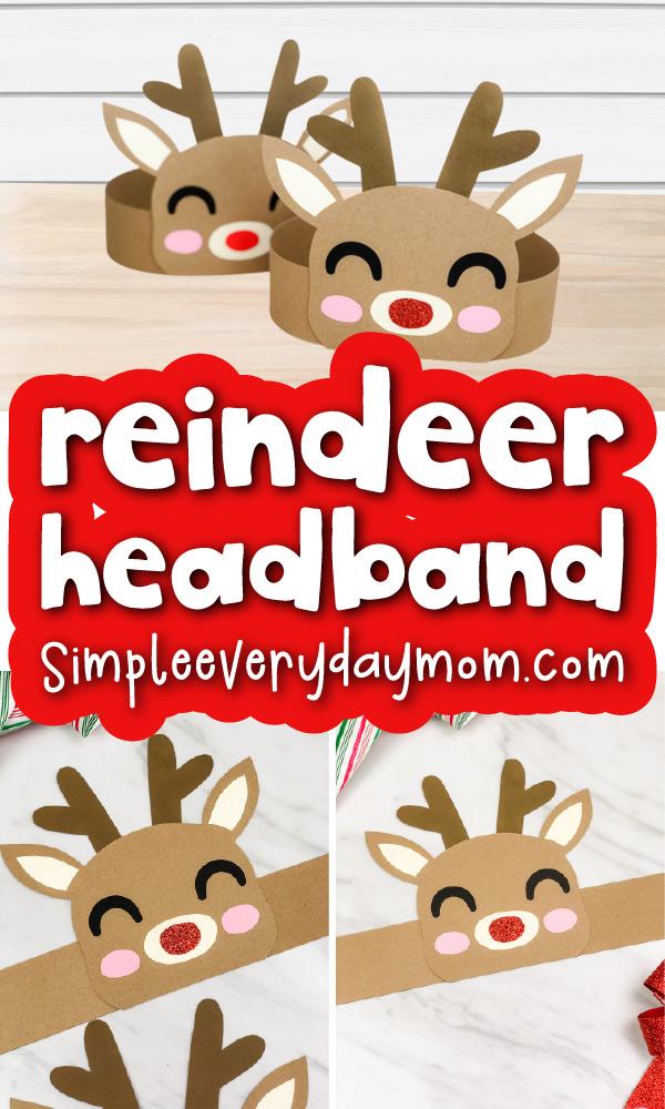 reindeer headband craft image collage with the words reindeer headband