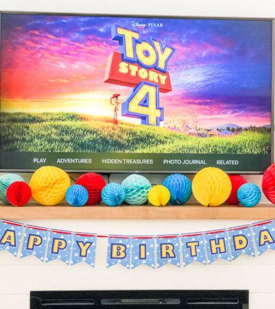 Toy Story 4 party decorations on fireplace