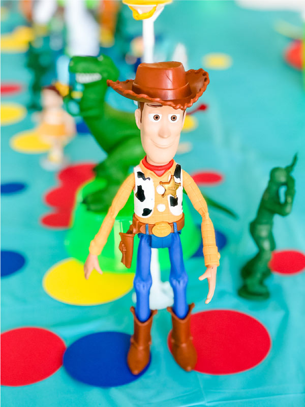 Closeup of Woody on Toy Story 4 party table