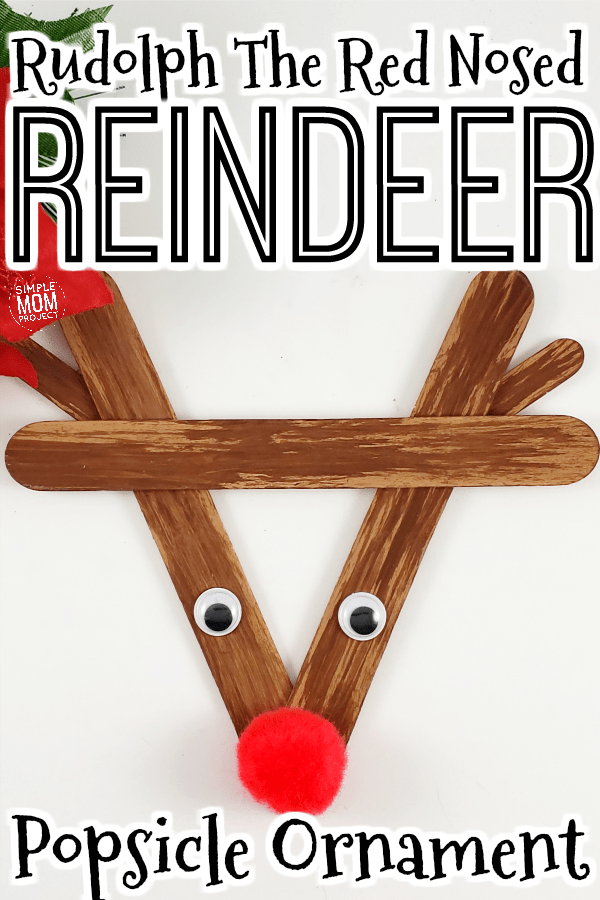Easy DIY Rudolph Popsicle Stick Christmas Ornament Craft