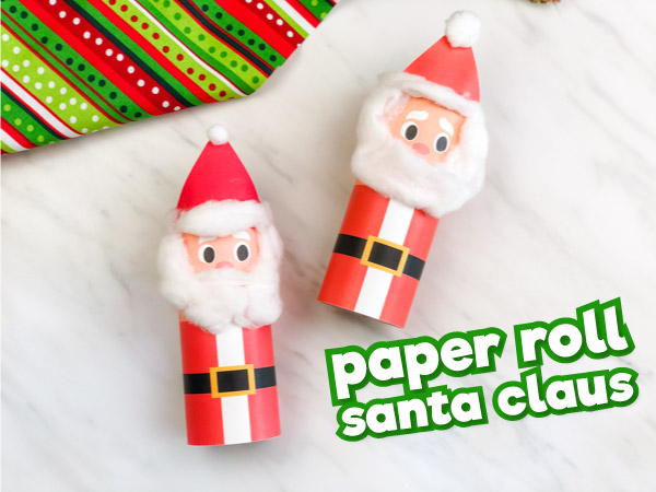 Two toilet paper roll Santa crafts