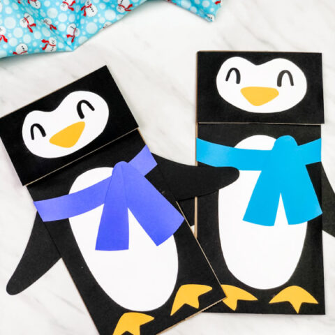 Penguin Paper Bag Puppet Craft