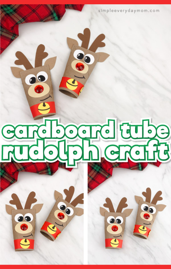 toilet paper roll reindeer craft image collage with the words cardboard tube rudolph craft in the middle