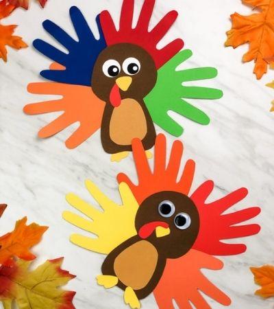 2 handprint turkey crafts