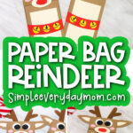 reindeer puppet craft image collage with the words paper bag reindeer