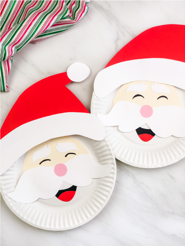 two Santa Claus paper plate crafts
