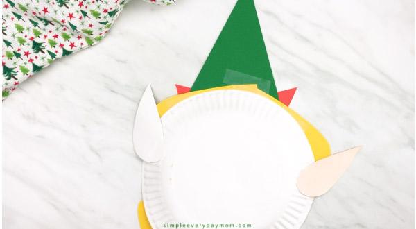 back of paper plate elf craft