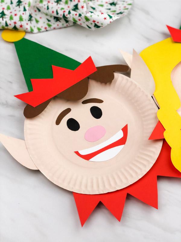 boy paper plate elf craft