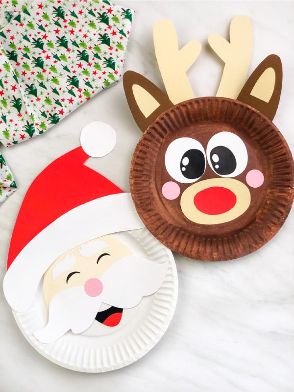 paper plate Santa and reindeer craft