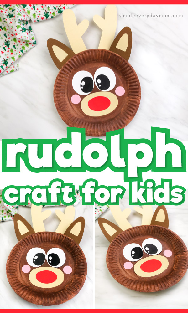 paper plate reindeer craft image collage with the words rudolph craft for kids in the middle