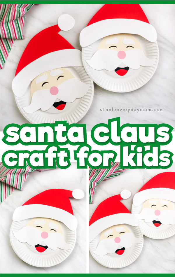 paper plate santa craft image collage with the words santa claus craft for kids