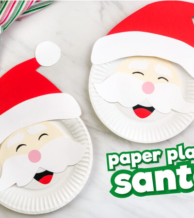 Two paper plate Santa crafts with the words paper plate Santa in the corner