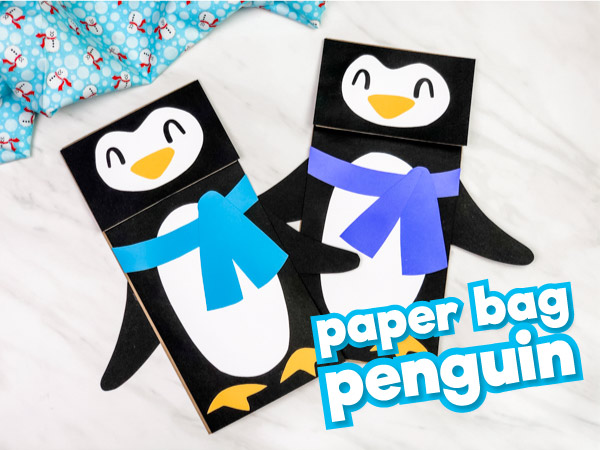 Penguin Paper Bag Puppet Craft For Kids