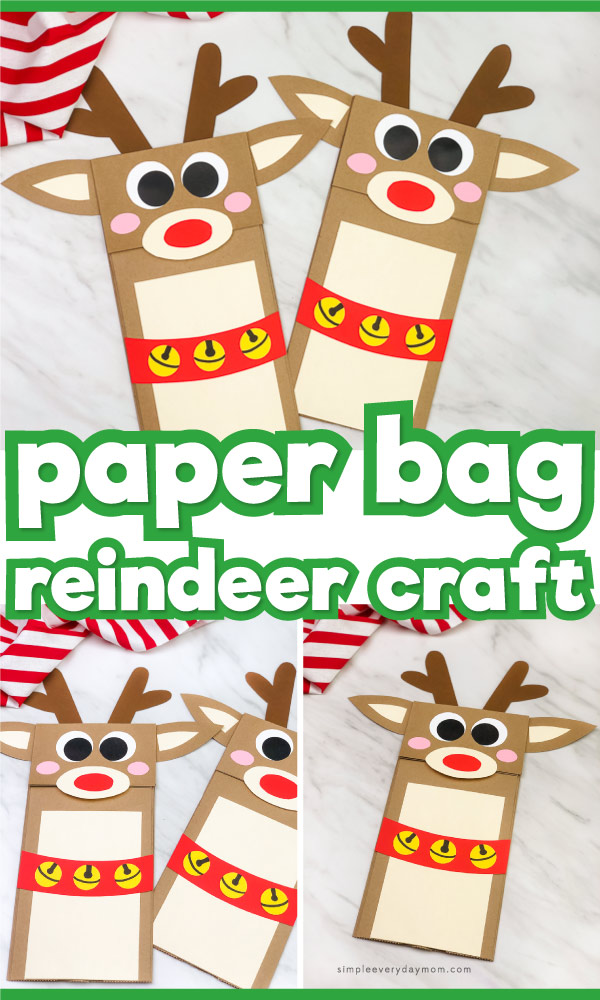 paper bag reindeer craft image collage with the words paper bag reindeer craft in the middle